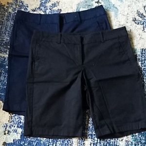 2 pair Ann Taylor boardwalk shorts navy black
